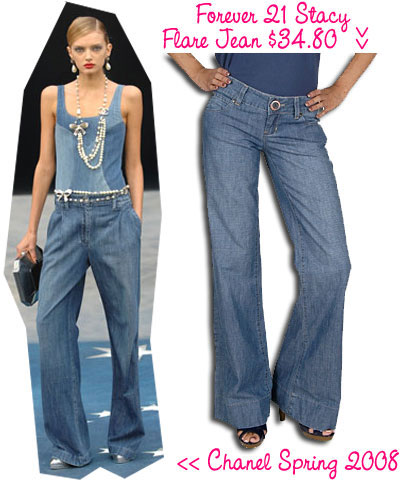 Chanel inspired wide leg jeans