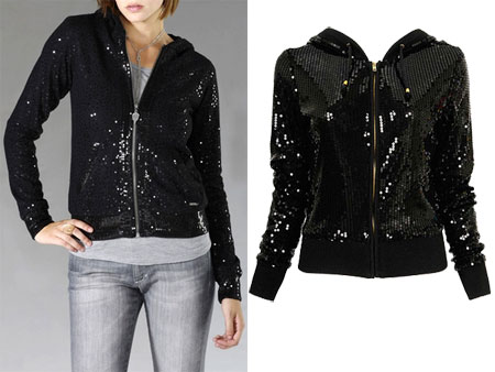 I go back and forth with these sequined hoodies  seems like they're everywhere these days  but with the holidays coming up, I'm beginning to think they're a