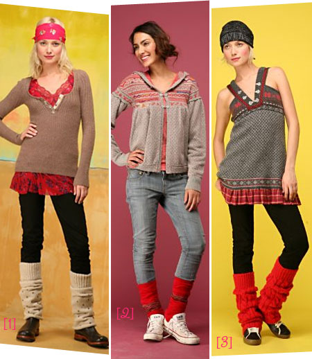 Pictures of different ways to wear leg warmers