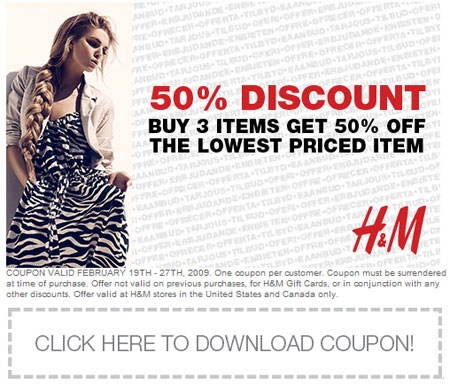 H&M Save 50 Percent Off 3 Items Coupon