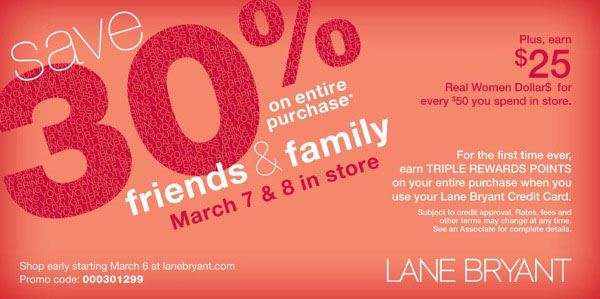photograph relating to Lane Bryant Printable Coupons referred to as Lane Bryant Close friends Loved ones Coupon - The Finances Babe