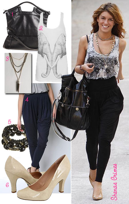 Steal the celebrity star style of Shenae Grimes in harem pants for less.