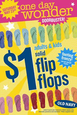 $1 Flip Flops at Old Navy Saturday May 23rd Only