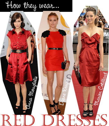 See how stars such as Diane Kruger and Marion Cotillard accessorize a red dress.