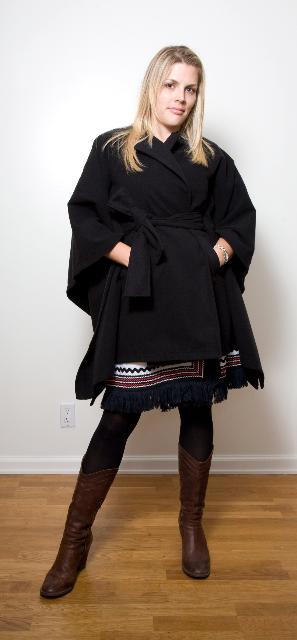 Busy Phillips- Rachel Zoe Double Faced Belted Cape Black, $88.00