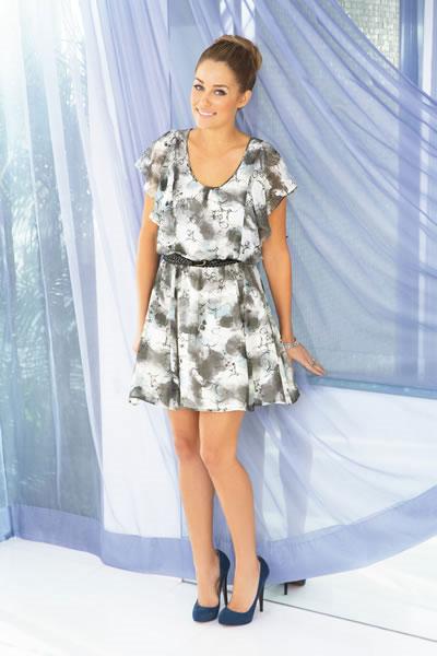 LC Lauren Conrad flutter sleeve dress $60.00. Sizes: 2-16 stone blue
