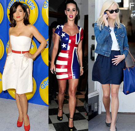 Celebrities show off their red white and blue style