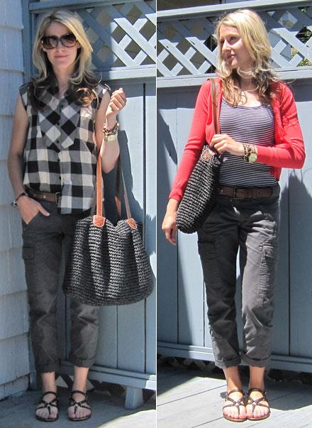 29e93d69d Left: Forever 21 plaid shirt, Lands' End Canvas cargos, Cynthia Vincent for  Target sandals; Merona for Target straw tote. Right: Lands' End Canvas  striped ...
