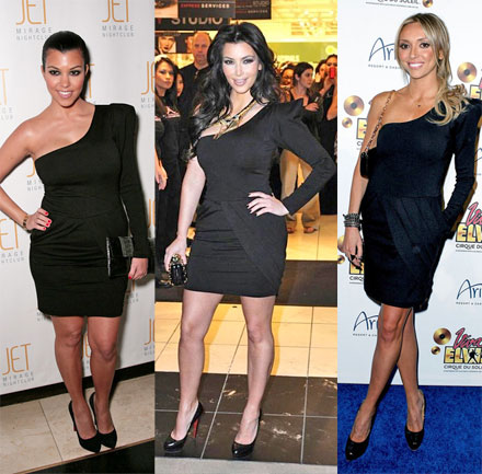 The Look for Less: Kardashians for Bebe One Shoulder Pleated Dress