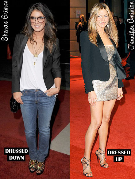 Shenae Grimes and Jennifer Aniston show two ways to wear a tuxedo blazer.