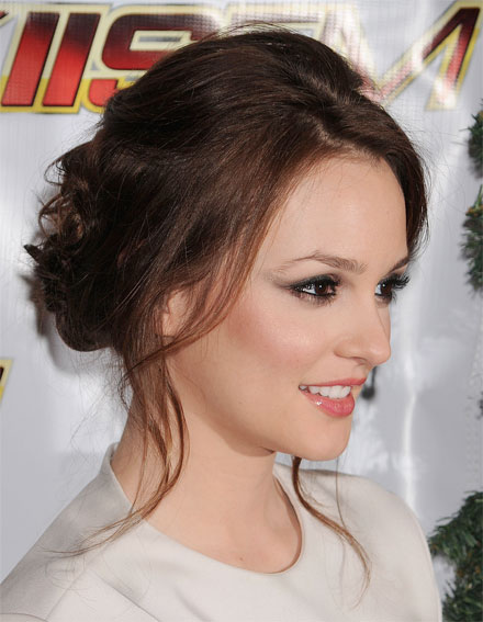 Leighton meester s loosely pinned curls look effortless and sultry