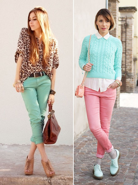 Coloured skinny jeans outfits