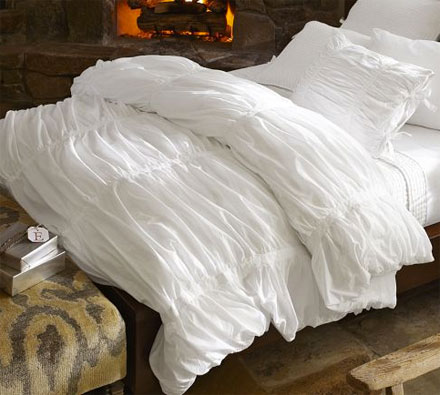 The Look For Less Pottery Barn Ruched Duvet Cover The