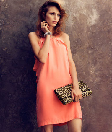 H&M conscious collection coral dress