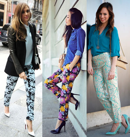 how to wear print pants for spring