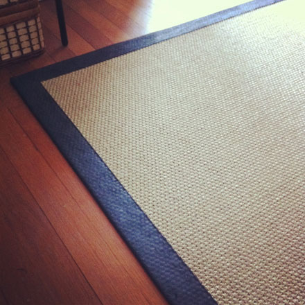 The finished result: Jute rug with black border