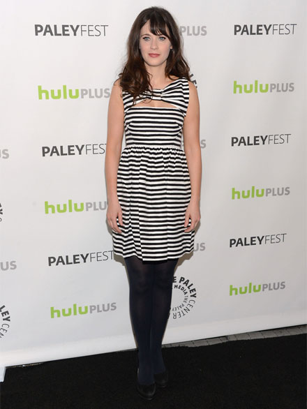Zooey Deschanel wears Kate Spade New York's striped Vivien dress
