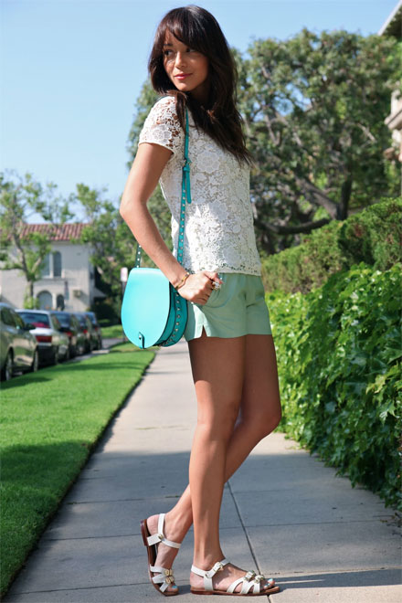 Ashley Madekwe's lace top by Madewell and mint green shorts by J Brand