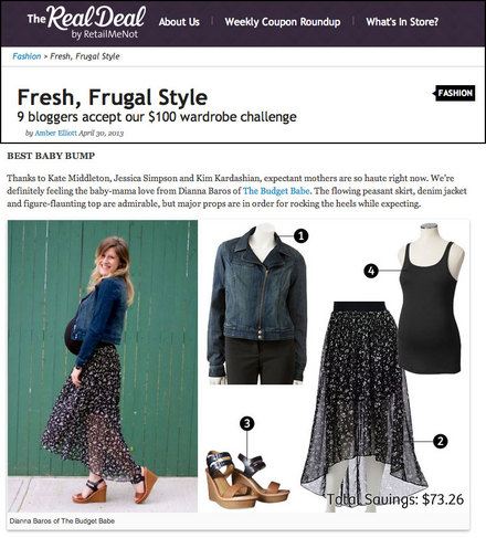 The Budget Babe press feature on RetailMeNot.com