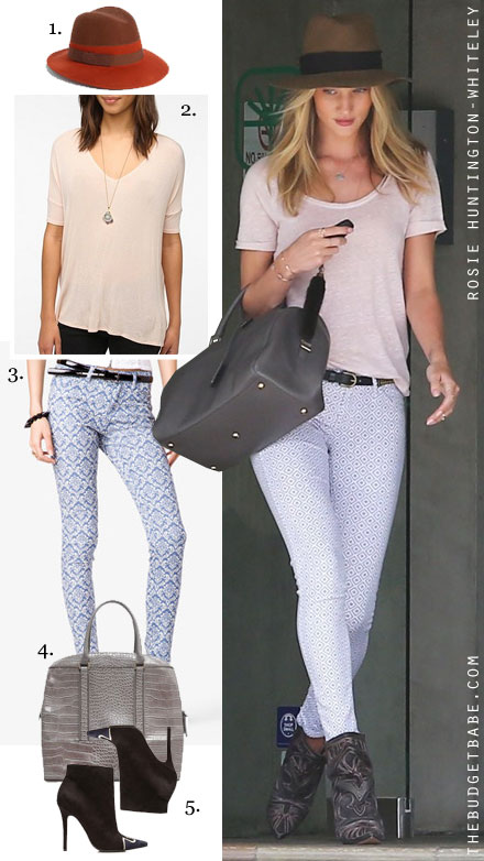 Rosie Huntington-Whiteley's geo print jeans and stitched boots