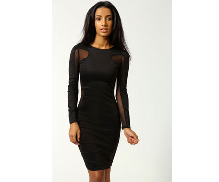 Boohoo.com sheer panel dress