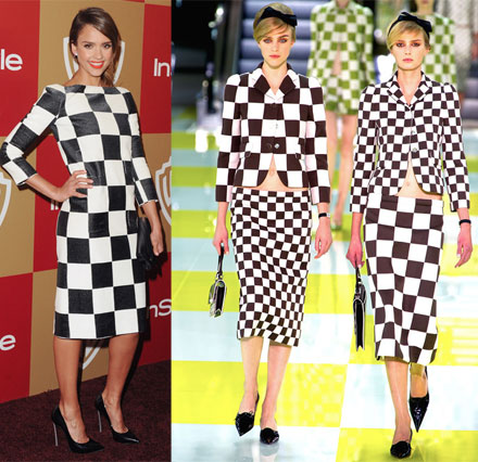 Checkerboard prints on Jessica Alba and the Louis Vuitton Spring 2013 runway