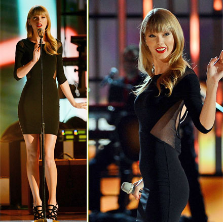 Taylor Swift's sheer panel insert dress by Elizabeth & James