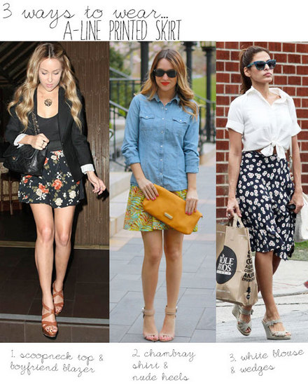 3 Ways to Wear: A-Line Printed Skirt