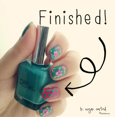 Flowers and dots spring manicure tutorial
