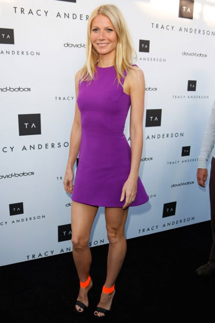 Gwyneth Paltrow in Victoria Beckham dress and Michael Kors heels