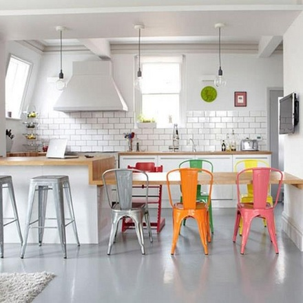 Modern vintage kitchen with Marais Stools