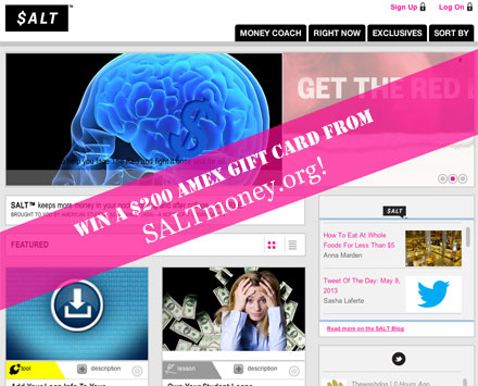 Win a $200 gift card from SALTmoney.org #giveaway