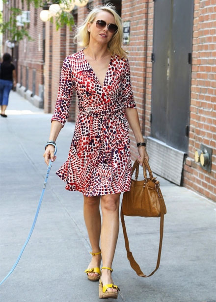 Naomi Watts in Issa London wrap dress for Banana Republic