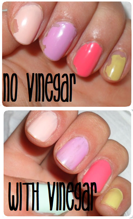 Swiping nails with vinegar before applying nail polish helps it last longer.