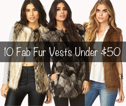 Fabulous faux fur vests at Forever 21