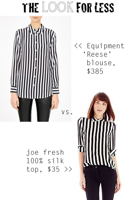 The Look for Less: Equipment 'Reese' Striped Blouse