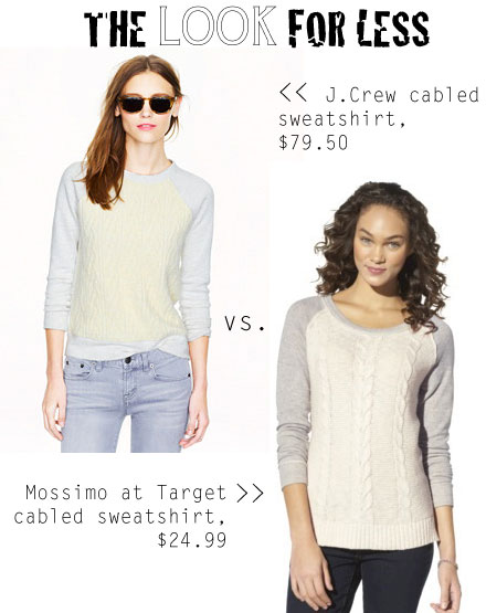 The Look for Less: J.Crew Cabled Sweatshirt