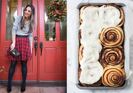 Penny Chic's plaid skirt; Mbakes cinnamon buns