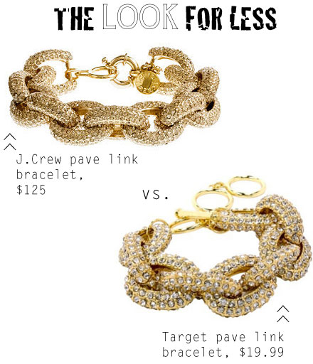 J.Crew's pave link bracelet look for less