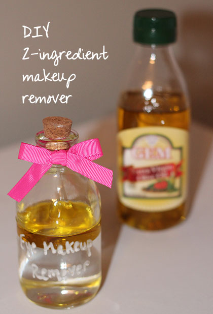 2 Ingredient DIY Makeup Remover - mix olive oil and water for a hydrating, all-natural makeup remover!