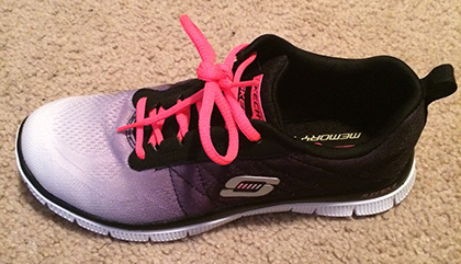 black and pink skechers memory foam