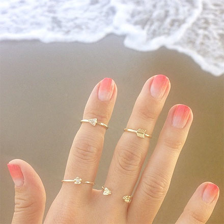 Lauren Conrad's ombre nails and arrow rings