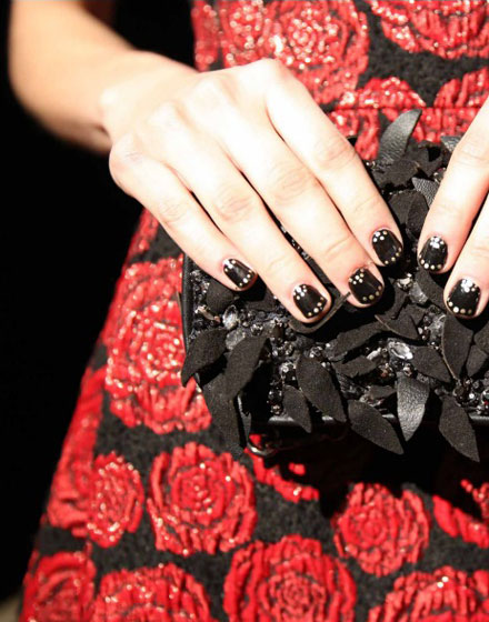 Alice + Olivia Fall 2014 nails by Essie - black with gold dot accents