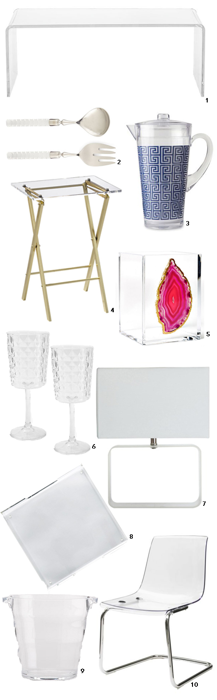 Lucite finds on a budget