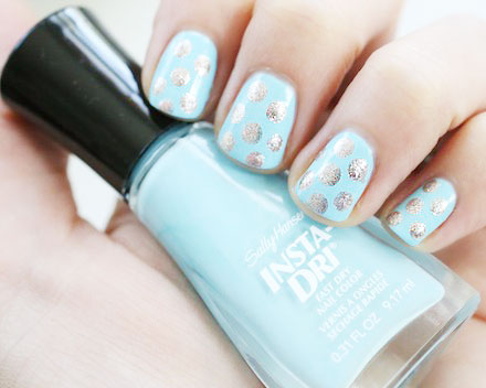Powder Blue + Silver Polka Dot Nails / TheBudgetBabe.com