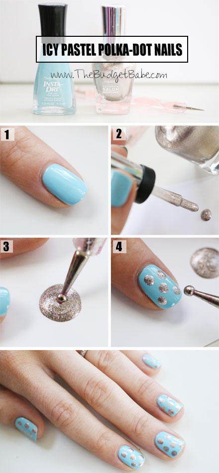 Icy Pastel Polka-Dot Nails with Sally Hansen / TheBudgetBabe.com