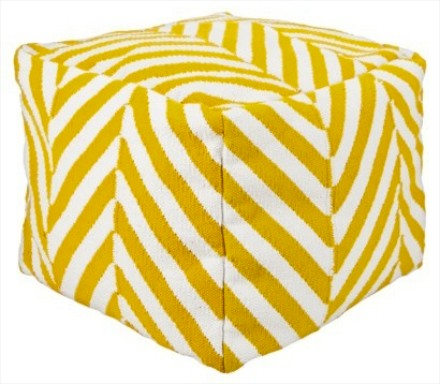 Target Threshold bright yellow chevron kilim pouf