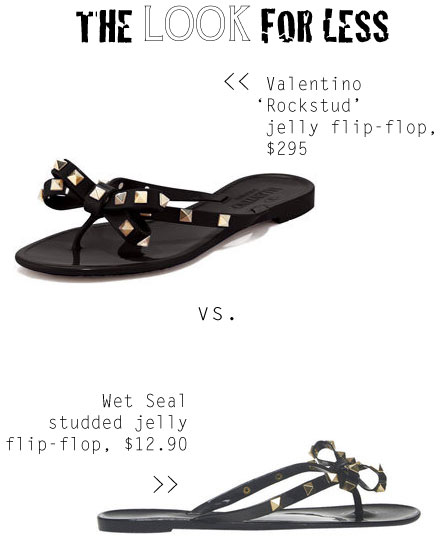 The Look For Less Valentino Rockstud Jelly Flip Flop Sandal The Budget Babe Affordable Fashion Style Blog