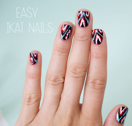 Easy Ikat nail art tutorial