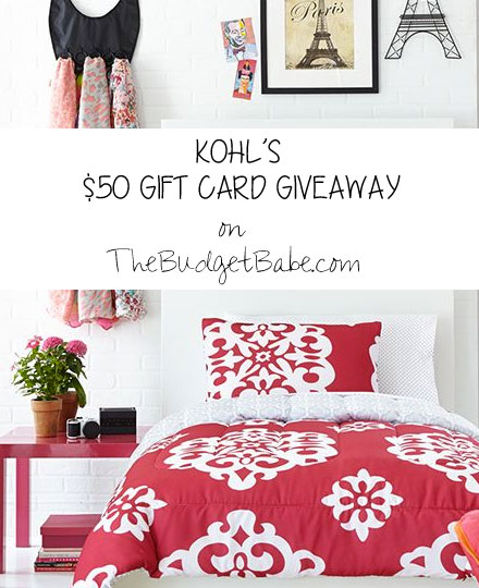 Kohl's $50 Gift Card Giveaway on TheBudgetBabe.com